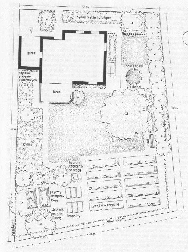 Ogród z warzywnikiem i sadem